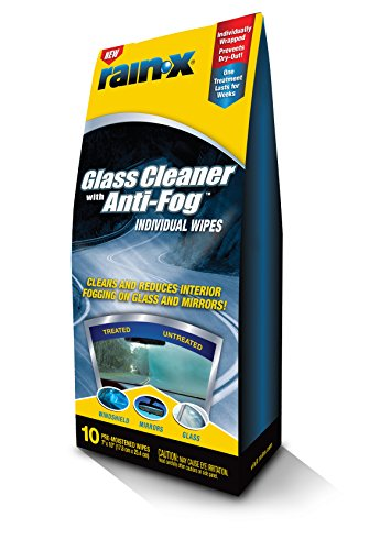 Rain-X 630040-6PK Glass Cleaner with Anti-Fog Wipes - 10 Count (Pack of 6)