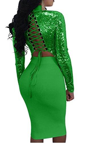 Bodycon Stringate Piece Green Womens Magro Cromoncent Midi 2 Veste Club Vestito qFxEwBp