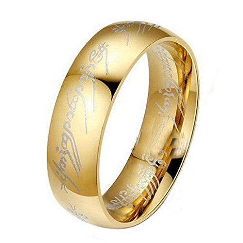 Lord of the Rings, Stainless Steel Bilbo's Hobbit Gold Ring (8)