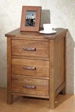 free shipping 74956 9a631 Havana Dark Solid Oak 3 Drawer Bedside Cabinet: Amazon.co.uk ...