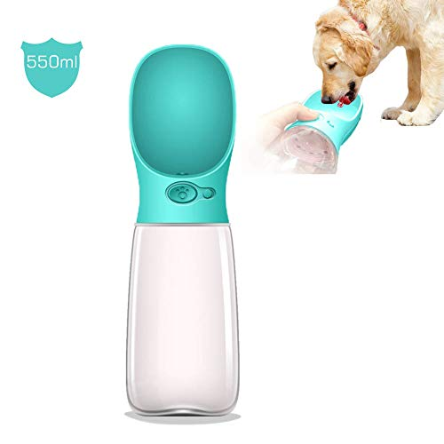 [Upgraded Bigger Capacity] MalsiPree Dog Water Bottle, Leak Proof Portable Puppy Water Dispenser with Drinking Feeder for Pets Outdoor Walking, Hiking, Travel, BPA Free Food Grade Plastic (19oz, Blue)