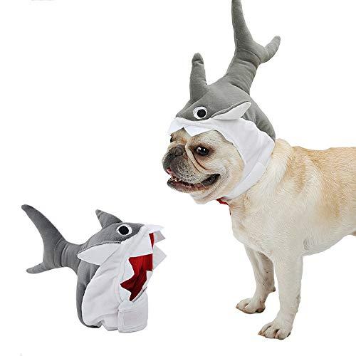 ROZKITCH Pet Dog Shark Hat Cute Halloween Cat Dog Shark Costume Headdress Pets Plush Cap]()