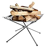 Rootless Portable Outdoor Firepit- Collapsible Steel Mesh Fireplace- Medium Size