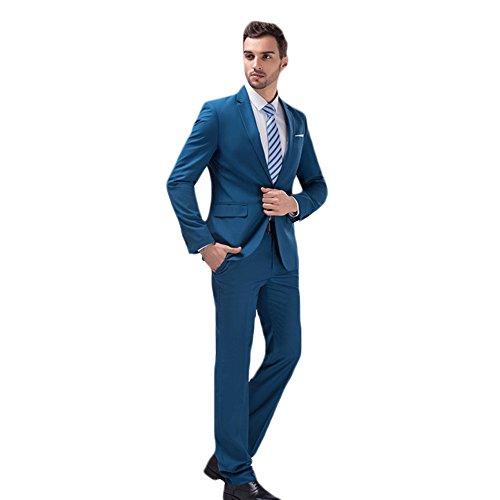 MAGE MALE Mens Solid 3-Piece Suit Slim Fit Notch Lapel One Button Tuxedo Blazer Jacket Pants Vest (1 Button Tuxedo Jacket)