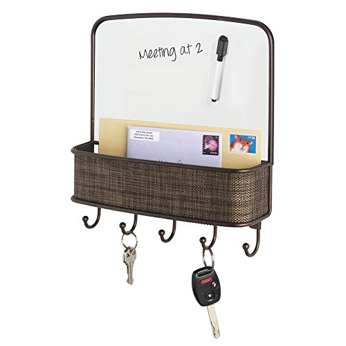 mdesign-dry-erase-board-with-mail-and-key-organizer-for-kitchen-hallway-entryway-wall-mount-bronze