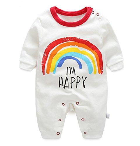 Baby Girls Boys HAPPY Saying Rainbow Long Sleeve Bodysuits Rompers Newborn Pajamas (24M(height 33''), (Rainbow Lily)