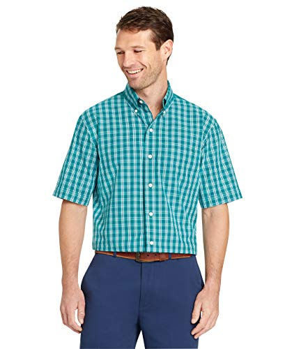 Arrow 1851 Men's Big and Tall Hamilton Poplins Short Sleeve Button Down Plaid Shirt, Quetzel Green, 2X-Large (Relaxed Sleeve Fit Short Polo Shirt)