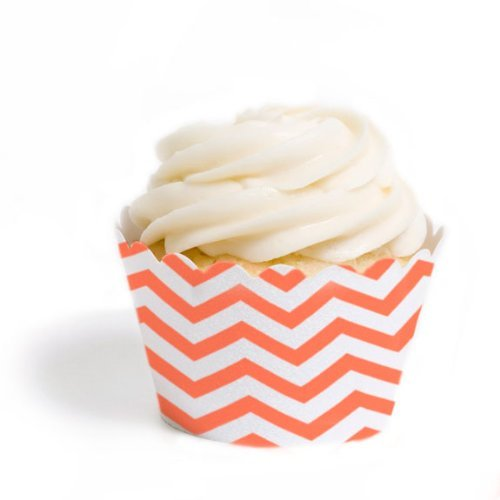 Dress My Cupcake Standard Cupcake Wrappers, Chevron, Coral, Set of (Coral Cupcake Liners)
