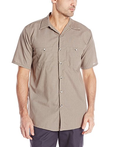 Red Kap Men's Geometric Micro-Check Work Shirt, Khaki/Black, Short Sleeve Large (Check Micro Sleeve Short Shirt Work)