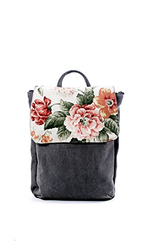 Handmade Vegan Leather and Canvas Floral Backpack, Feminine Laptop Rucksack