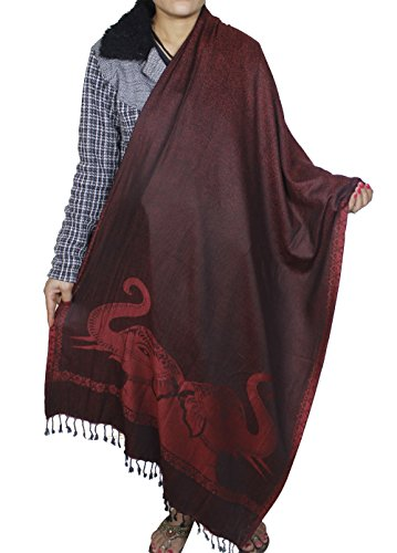Indian Elephant Vintage Spring Red Scarf - Soft Wool Viscose Stole Shawl (Vintage Indian Scarves)