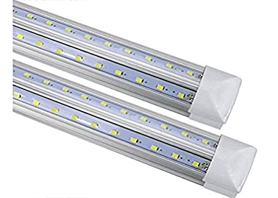CIDA T8LED Tube Light Bulb 4FT, 48 inches, 24W, 80W Equivalen 192 pc LED, Double Side V Shape Integrated, Clear Cover, Cold White 6000K, AC85-265V 2500 lumens, 50,000 hours! LED tube