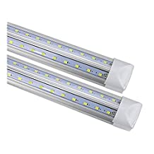 CIDA T8 LED tube for 4 feet, 48 inches, 24W, V-type double row lamp - 192pc LED, 6000K color temperature, 2500 lumens, 50,000 hours! LED tube, transparent cover,