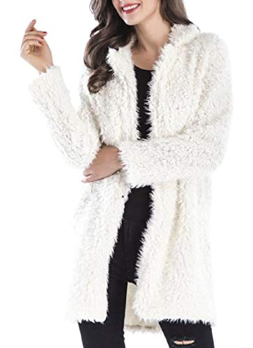 Cromoncent Women Cardigan Overcoat Winter Lapel Plush Sherpa Outerwear Parkas Coat Beige XS by Cromoncent