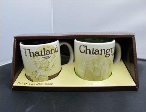 New Starbucks Coffee Set of 2 Demitasse Espresso Cups City Collector Series Thailand - Chiangmai Mug Tea ()