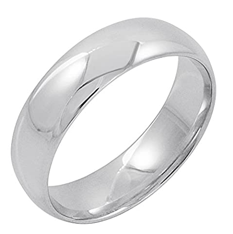 Men's 10K White Gold 6mm Comfort Fit Plain Wedding Band (Available Ring Sizes 8-12 1/2) Size 10 (6 Mm White Gold Band)