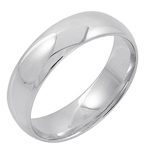 Men's 10K White Gold 6mm Comfort Fit Plain Wedding Band (Available Ring Sizes 8-12 1/2) Size 9 ()