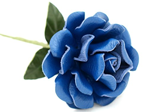 Small Long Stem Blue Leather Rose, Handmade Third Wedding Anniversary Gift