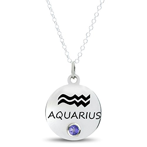 Esty & Me Zodiac (Aquarius) Pendant In Sterling Silver with Personalized Simulated Birthstone, February