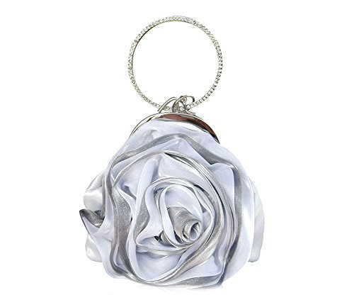 ILISHOP Women's Satin Rosette Bridal Bridesmaid Clutch Flower Wristlet Wedding Handbag Rhinestone Ring Handle Evening Bag (Silver Satin Evening Bag)