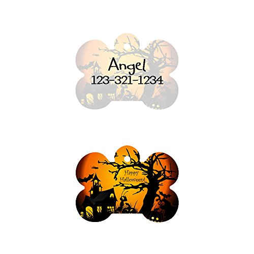 Image of The New Halloween Bone Shaped Pet ID Tag, Design 2, Customizable Information Pet Badge for Dogs and Cats (USPS Tracking)