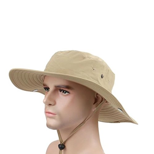 Vrcoco Wide Brim UPF50+ Fishing Hat Booney Sun Hats Summer Outdoor Unisex Sun Cap Quick Drying Sun Protection Hunting Hat(1pc,Khaki) - Com Costumes Flounder