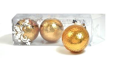 GOLD METALLIC GOLF BALLS (sleeve of 3)- BLING BALLS! by Navika