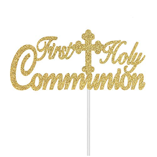 First Holy Communion Cake Topper Baby Baptism for Kids Birthday Religious Centerpieces Party Decorations Gold Glitter