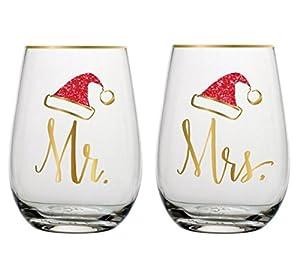 Amazon.com | Christmas Stemless Wine Glasses Mr & Mrs with Santa ...