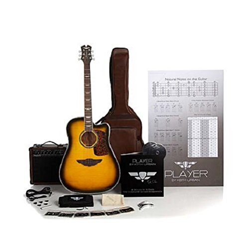 Keith Urban 50-piece Deluxe PLAYER Acoustic-Electric Guitar Brazilian Burst (Right) ()