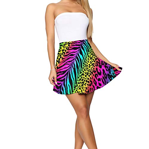 LINSHANGYI Retro Striped Neon Rainbow Zebra Women's High Waisted Solid Stretchy Mini Skirt Fashion Short Skater Skirt