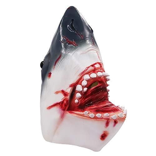 Molezu Halloween Bloody Shark Head Mask, Costume Party Latex Animal Fish Mask Adult White