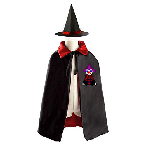 Clown Doll Halloween Costume Witch Wizard Cloak Dress Suit Cape Hat (Homemade Girl Clown Costume)