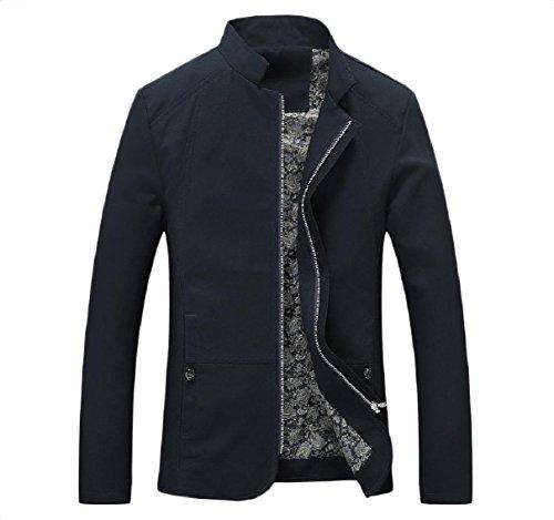Blu Rkbaoye Idoneità Il Casual Navy Alla Coreana Giacca Uomini Collo Cotone Cappotto Zip 6FPq4