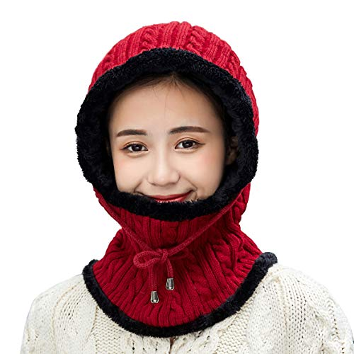 (Women Winter Knit Fleece Balaclavas Hat Cap Beanie Ski Neck Scarf Cold Weather)