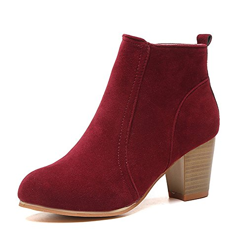 Moda Martin Zapatos Para Calentar Tacones Invierno Mujer Botas Rojo CUSTOME Botines FnpSqT0Wx