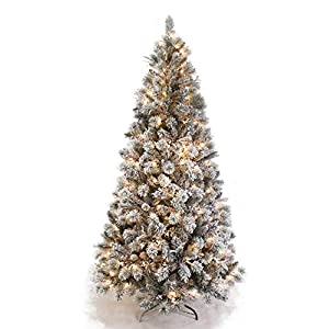 AMERIQUE 691322305692 8 FEET Premium Artificial Full Body Shape Christmas Tree with Metal Stand, Heavily Flocked Snow, Unlit, Snowy 4