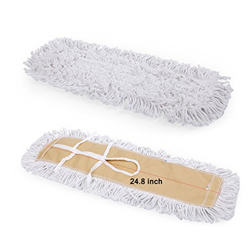 Shallylu 24'' Dust Mop Head, Dust Mop Refill Floor Mop Washable Cleaning Cotton Dust Mop for Hardwood Floor Clean, Office, Garage Care, Laminate, Tile Flooring, Home & Commercial Use by Shallylu (Image #1)