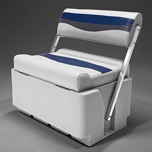 DeckMate Classic Swingback Pontoon Seats (Gray/Blue/Charcoal) (Seat Cooler Boat)