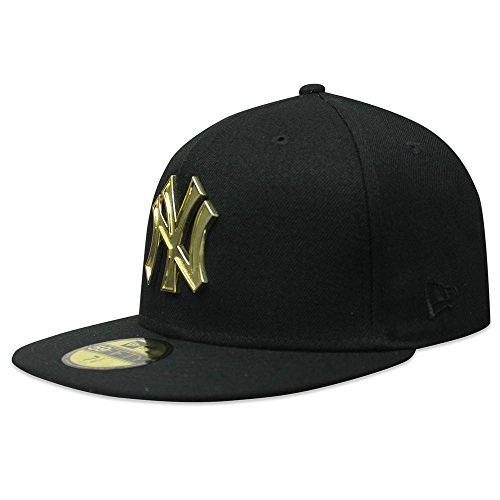 New Era New York Yankees Metal Logo 59Fifty Men's Fitted Hat Cap Black/Gold 80569903 (Size 7 -