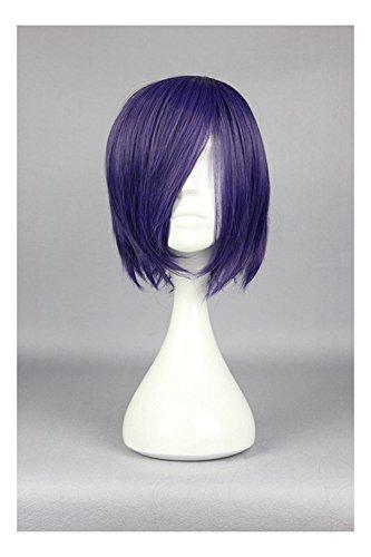 COSPLAZA Halloween Short Dark Purple Anime Cosplay Wig Girl Costume Accessory