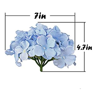 Flojery Silk Hydrangea Heads Artificial Flowers Heads with Stems for Home Wedding Decor,Pack of 10 (Blue) 4