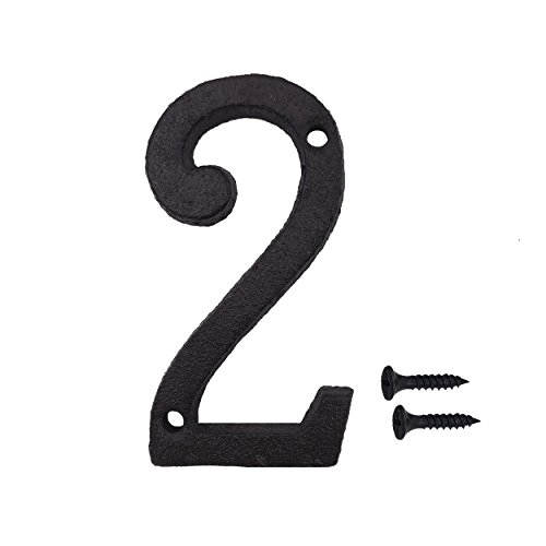 3 Inch Wrought Iron House Number, Matching Screws Included Black Number 2