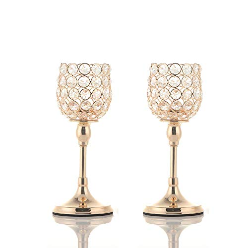 - VINCIGANT Gold Crystal Pillar Candle Holder Set of 2 Table Centerpieces for Anniversary Celebration House Decor,Thanksgiving Gifts for Women,10 Inches Tall