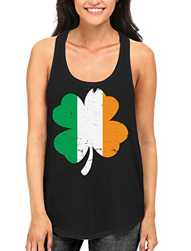 SpiritForged Apparel Distressed Irish Flag Clover Women's Racerback Tank Top, Black 2XL (Ireland Tank Top)