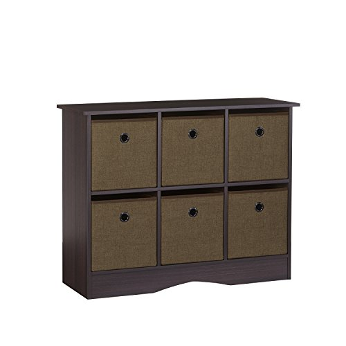 RiverRidge 6-Cubby Storage Cabinet in Espresso with Brown Bins (Cabinet Cubby)