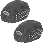2 Packs High Visibility Universal Size Waterproof Bike and Bicycle Helmet Cover with Reflective Strip, Windpro