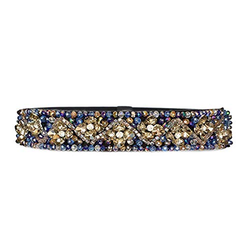 Women's Thick Floral Beaded Crystal Stone Belts Rhinestone Jeweled Waistband,Blue ()