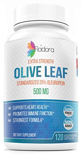 Olive Leaf Extract Capsules 500 mg - Extra Strength 20% Oleuropein - - Vegetarian - Immune Support, Cardiovascular Health & Antioxidant Supplement - 120 Vegetarian Capsules by Fladora (Olive Leaf Extract And Celery Seed Extract)