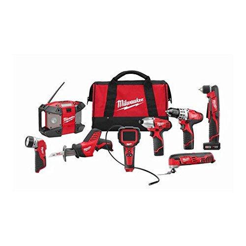 Milwaukee 2495-28 M12 Combo 8 tool Kit W/2 Cmpt Bat, 1 Xc Ba